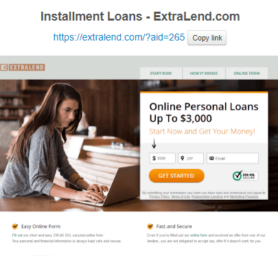 LeadsGate Installment Loans Offer Screenshot