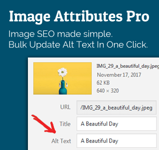 Bulk update WordPress alt text with Image Attributes Pro