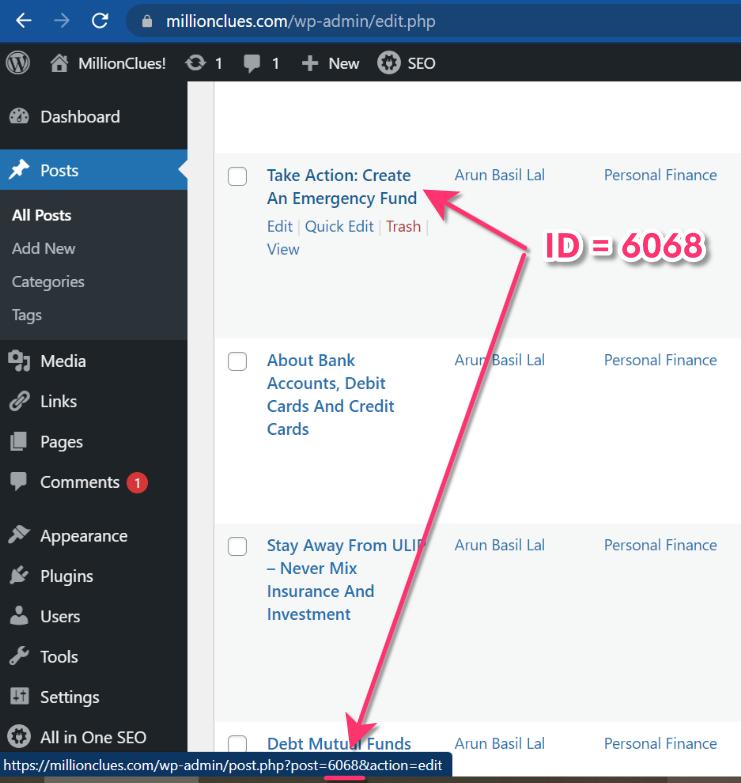 Post Page Product Id WordPress
