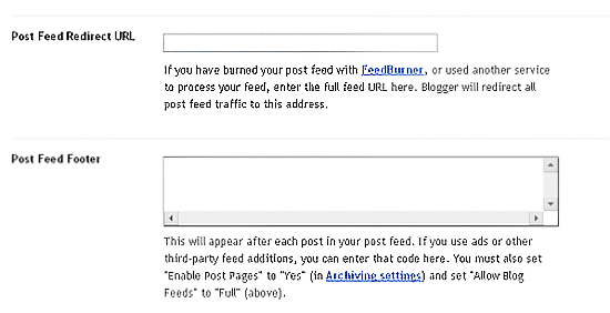 Blogger Options for RSS Footer and FeedBurner FeedSmith
