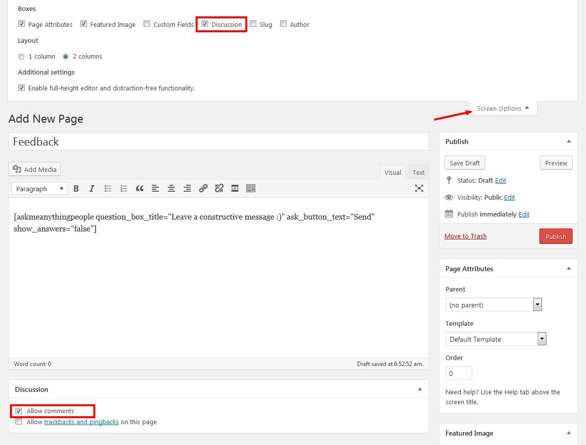 Enabling Comments In WordPress