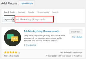WordPress Admin   Plugins   Add New   Ask Me Anything
