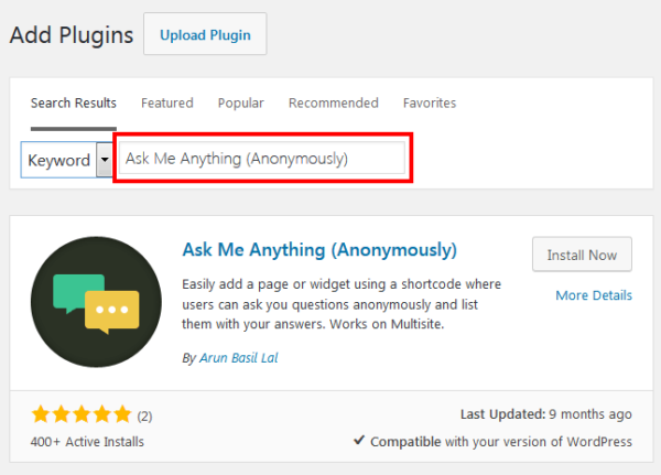 WordPress Admin Plugins Add New Ask Me Anything
