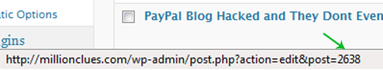 WordPress Post ID on Status Bar