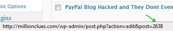 WordPress Post ID on Status Bar