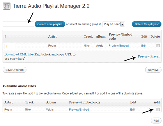 Audio Player Options