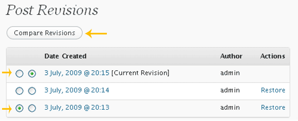 Compare Revisions - Do as shown