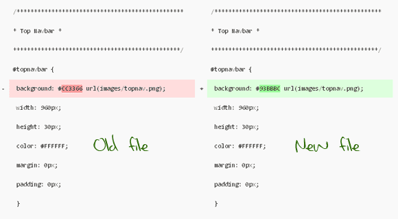 Files Compared Side by Side - Differences Highlighted