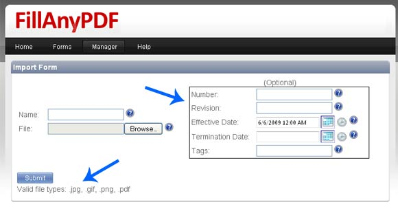 FillAnyPDF Import Options - Watch the arrows!