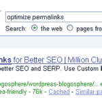 Google Search Result For 'Optimize Permalinks'