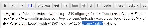 Insert Align Attribute Manually