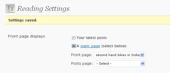 Reading Settings - Static Pages