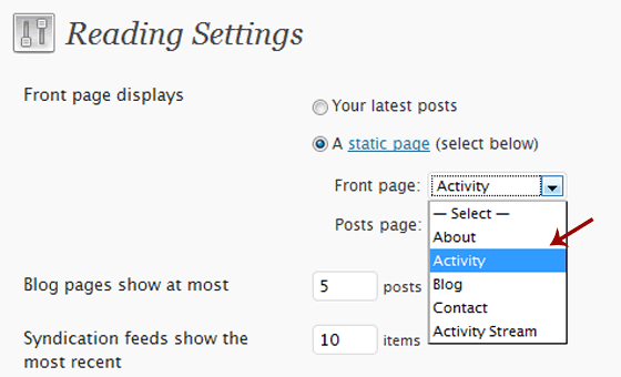 Set Activity Stream as Front Page