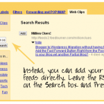 RSS Feeds in Gmail Web Clips