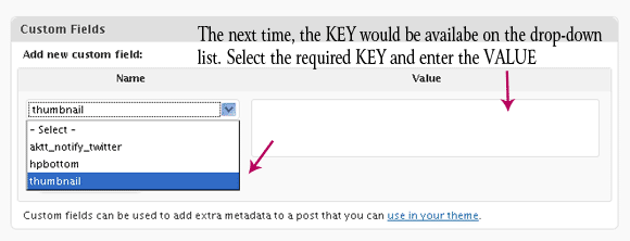 Select the KEY and enter the VALUE
