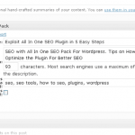 SEO Pack on the Post Editor