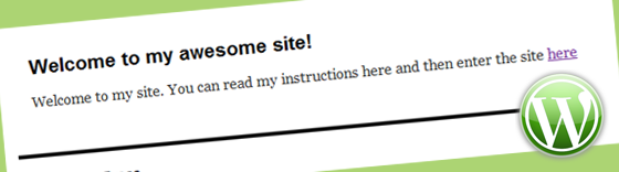 Welcome Page for WordPress