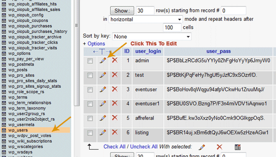 wp_users Table and Edit Button